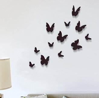 +Hotel by K-bros&Co Wall Stickers Black 3D Butterfly Wall Art Murals Removable Self-Adhesive Decals Nursery Kindergarden Kids Room Restaurant Cafe Hotel Office Home Decoration