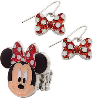 Disney Minnie Mouse Ring and Earrings Set
