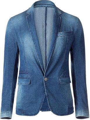 D&G Dolce & Gabbana Washed Denim One-Button Blazer