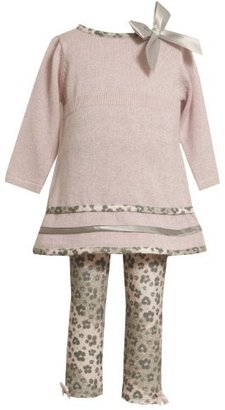 Bonnie Baby girls Infant Pink Sweater Knit Top To Leopard Print Legging