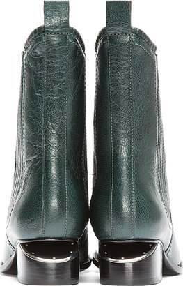 Alexander Wang Dark Green Leather Silver-Heeled Anouck Chelsea Boots