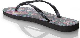 Havaianas Black Slim Floral Flip Flops