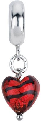 Murano Prerogatives Red/Black Heart Italian Dangle Glass Bead