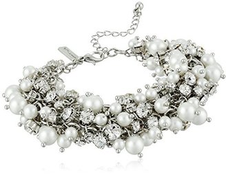 Nina Peony Silver-Tone, Simulated Pearl, and Crystal Bracelet