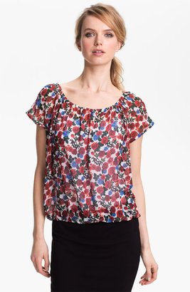 Vince Camuto Rose Print Elastic Waist Top New Ivory Large P