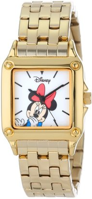 EWatchFactory Disney Women's W000859 Square Steel Minnie Mouse Gold Tone Bracelet Strap Watch