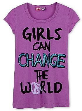 "Self Esteem Girls Can Change the World"" Graphic Tee – Girls 4-16"