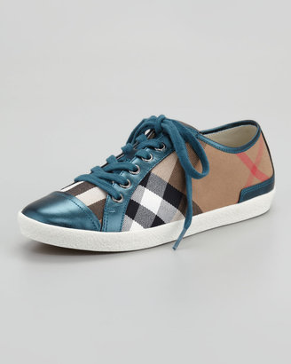 Burberry Check Canvas Metallic Low-Top Sneaker, Teal Blue