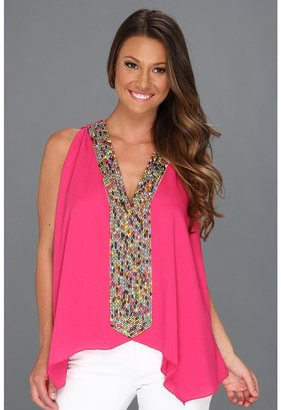 T-Bags Tbags Los Angeles - V-Neck Sleeve Tunic w/ Multi Colored Seed Bead Embroidered (Fuchsia) - Apparel