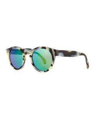 Illesteva Leonard Round Horn-Pattern Sunglasses with Mirror Lens $177 thestylecure.com