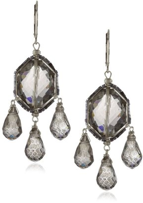 "Dana Kellin Deco Mix"" Crystal, Seed Beads And Silver Chandelier Earrings"