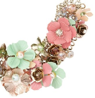 LOFT Short Multicolored Flowers Necklace