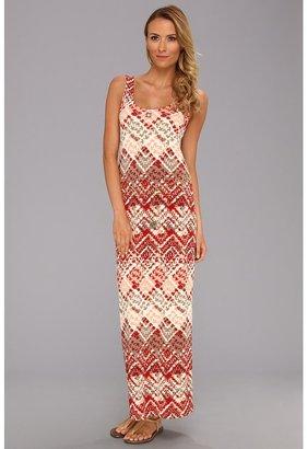 Anne Klein Argyle Print Maxi Dress (Carmine Multi) - Apparel