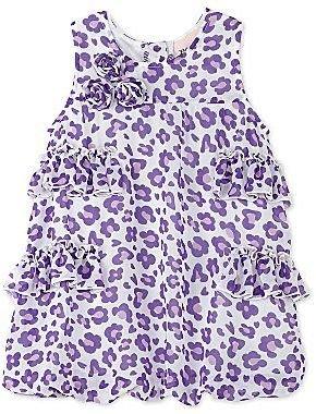 Little Lass Purple Leopard Bubble Dress - Girls newborn-24m