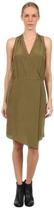 Tibi Solid Heavy Silk CDC Halter Draped Dress (Olive) - Apparel