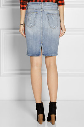 Current/Elliott The Stiletto distressed stretch-denim pencil skirt