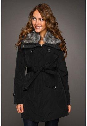 Hilary Radley Faux Fur Trim Belted Coat (Black) - Apparel