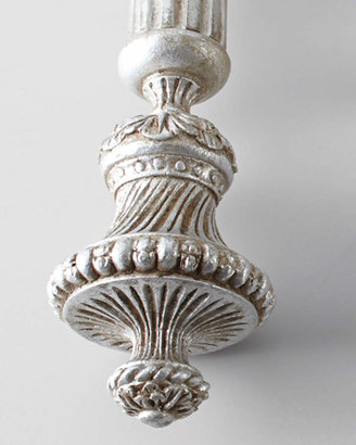 """Antique Drapery Rod Two Silver-Leaf-Finished """"Italian Renaissance"""" Finials"""