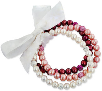 Honora Fresh by Pearl Bracelet Set, Pink Cultured Freshwater Pearl and Crystal Stretch Bracelets