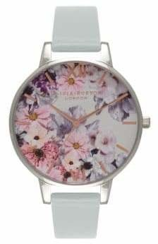 Olivia Burton Enchanted Garden Silvertone Faux Leather Strap Watch