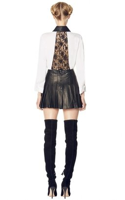 Alice + Olivia Darma Back Detail Flare Blouse With Leather