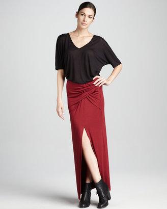Three Dots Draped Maxi Skirt