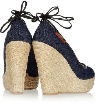 Sergio Rossi Denim wedge sandals