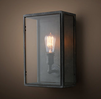 Restoration Hardware Union Filament Clear Glass Wide Sconce - Weathered Zinc