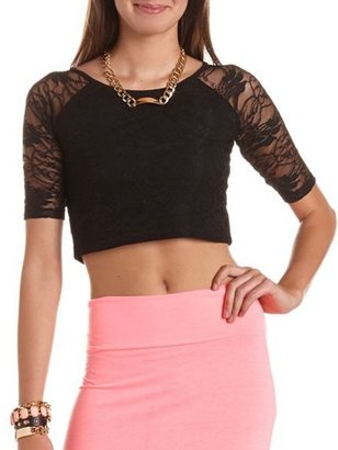 Charlotte Russe Raglan Sleeve Lace Crop Top