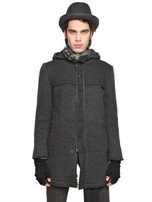 John Varvatos Wool/Viscose Flannel & Knit Coat