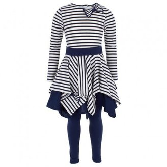 Kate Mack Biscotti Cream & Navy Jersey Dress and Leggings Set