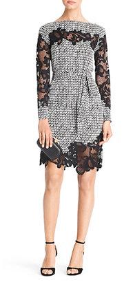 Diane von Furstenberg Ernestina Printed Lace Detail Dress In Tweed Dash Black