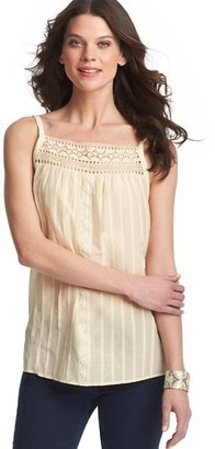 LOFT Crochet Lace Yoke Cotton Silk Cami
