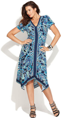INC International Concepts Plus Size Dress, Cap-Sleeve Printed Handkerchief-Hem