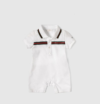 Gucci Sleepsuit With Logo Embroidery And Printed Green/Red/Green Web Detail.