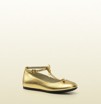Gucci Gold Metallic Leather Ballet Flat