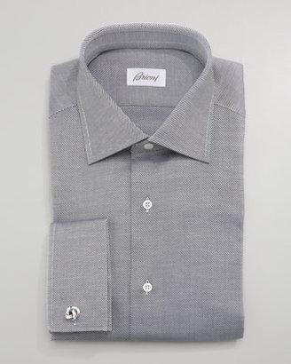 Brioni Striped Twill Dress Shirt, Black
