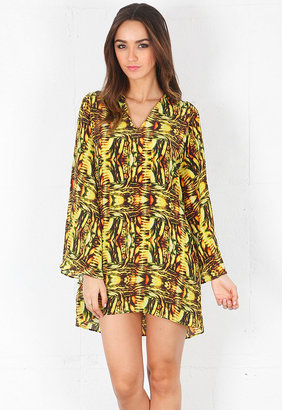 Alexis Lewis V-Neck Tunic with Bell Sleeve in Amazon Yellow