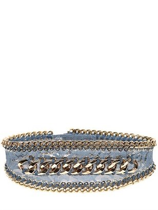 Balmain 110mm Chained Lace Pvc High Waist Belt