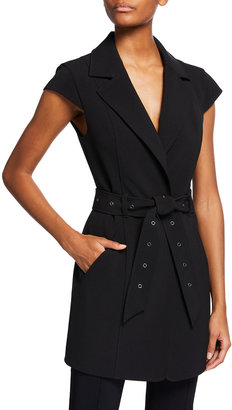 Toccin Cap-Sleeve Belted Jacket