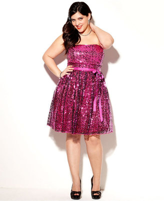 Ruby Rox Plus Size Dress, Strapless Sequin A-Line