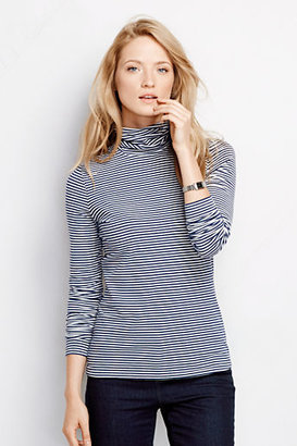 Lands' End Women's Fitted Turtleneck Top - Stripe