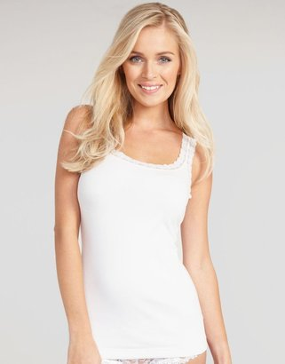 Maidenform Fat Free Dressing Cotton Rib Tank with Lace