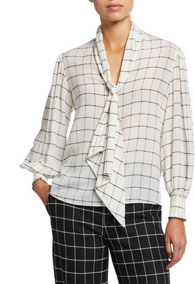 Alice + Olivia Mallie Tie-Neck Blouson-Sleeve Blouse