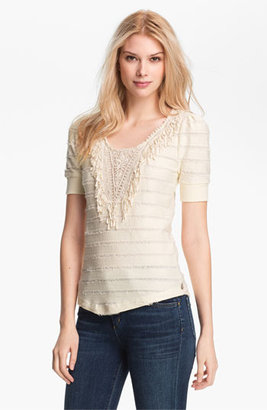 Maison Scotch Appliqué Bib Fringe Stripe Sweatshirt