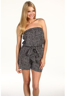 Vince Camuto Buenos Aires Spaced Tiles Strapless Romper (Rich Black) - Apparel