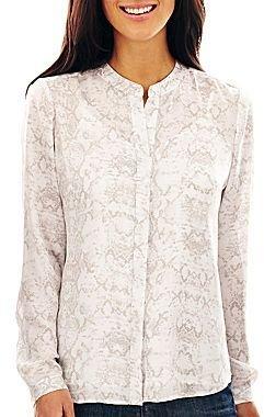Liz Claiborne Long-Sleeve Button-Front Blouse