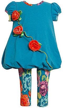 Bonnie Baby Newborn Rosette Bubble-Hem Dress & Floral Leggings Set