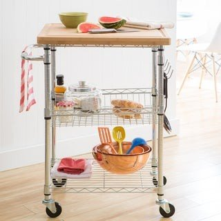 Trinity EcoStorage? Bamboo Top Kitchen Cart in Chrome