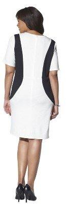 Women's Plus Size V Neck Color block Ponte Dress